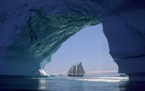 Обои море, корабль, парусник, лед