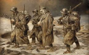 Картинка оружие, рисунок, солдаты, обмундирование, Вторая мировая война, немецкие