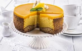 Картинка сладость, фрукт, мята, крем, выпечка, тортик