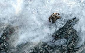 Картинка снег, дракон, герой, битва, The Elder Scrolls Skyrim