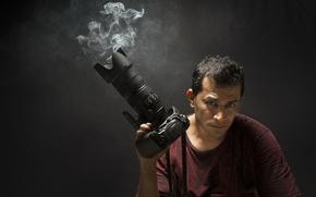 Картинка дым, человек, камера