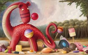 Картинка динозавр, арт, сладости, конфета, детская