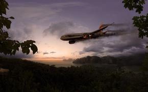 Обои человек, самолёт, Небо, остров, крушение, факел, джунгли