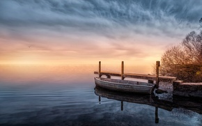 Картинка озеро, лодка, обработка, причал