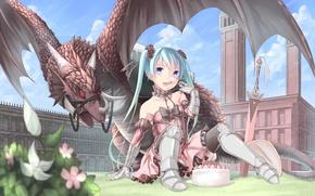 Картинка небо, девушка, облака, цветы, замок, дракон, меч, арт, торт, vocaloid, hatsune miku, вокалоид, saraki