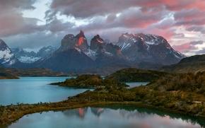 Картинка река, весна, вечер, Апрель, Чили, Южная Америка, Патагония, горы Анды, национальный парк Торрес-дель-Пайне