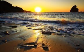 Картинка море, небо, солнце, закат, камни, скалы