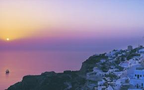 Обои море, утро, лодка, Солнце, город, 158