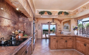 Картинка цветы, дизайн, фото, камень, интерьер, кухня