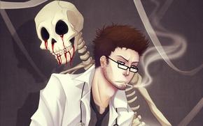Картинка сигарета, скелет, дым, очки, Мужчина, naimane