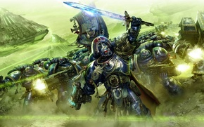 Картинка битва, Warhammer 40k, монолит, ultramarines, ультрамарины