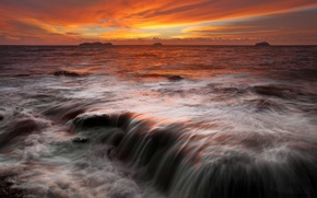 Картинка море, небо, облака, закат, камни, скалы, горизонт