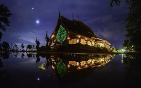 Картинка небо, ночь, природа, огни, отражение