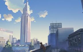 Обои небо, город, дома, небоскребы, Аниме, парень, стоит, makoto sinkaj, gorod