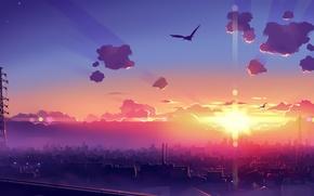 Обои графика, утро, лучи, дома, рассвет, город, птицы, 1920x1200, солнце
