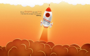 Картинка облака, ракета, Walt Disney, афоризм