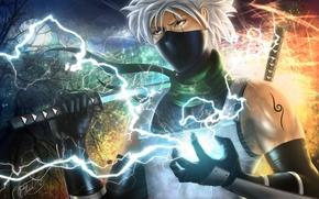 Картинка взгляд, молнии, меч, аниме, маска, naruto, art, Kakashi Hatake