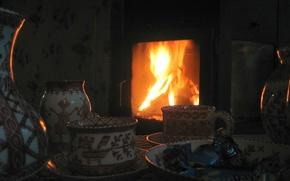 Картинка огонь, посуда, камин, славяне