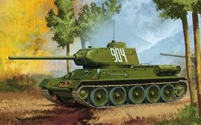 Картинка war, art, painting, tank, T-34/85, ww2 tank