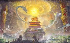 Обои магия, азия, драконы, дух, арт, колонны, храм, пещера, сфера, призраки, статуи, lei sheng