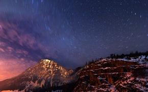 Картинка горы, Германия, деревья, вечернее, Млечный Путь, дымка, синее, холмы, небо, Бавария, облака