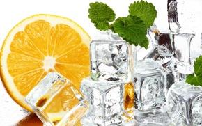 Обои кубики, апельсин, лёд, мята