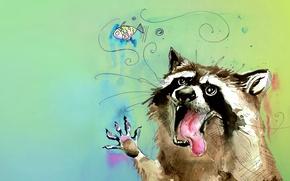 Картинка язык, животное, рисунок, цвет, рыба, акварель, енот, пузырь, полоскун, потаскун