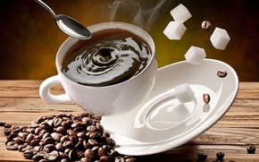 Обои чашка, кофе, сахар, блюдце, зерна, кубики, белая, ложка