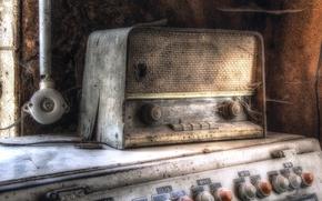 Картинка фон, паутина, радиоприёмник