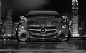 Картинка Mercedes-Benz, Авто, Ночь, Город, Машина, Мерседес, Черно-Белая, Обои, City, Mercedes, Car, Арт, Art, Photoshop, Фотошоп, …