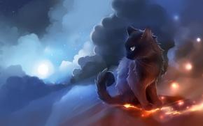 Обои кошка, луна, огоньки, чёрная, apofiss, небо, облака