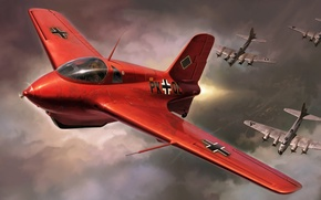 Картинка aircraft, art, airplane, painting, WW2, WAR, Messerschmitt Me 163 Komet, AVIATION