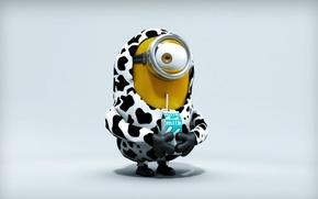 Картинка fantasy, yellow, kitty, milk, gloves, cow, straw, Minion, goggles, by guilhermecs4, milk carton, kitty costume