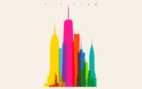 Картинка город, краски, цвет, дома, радуга, Нью-Йорк, New York, масштаб