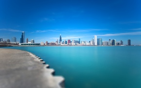 Картинка город, озеро, голубое, Чикаго, Мичиган