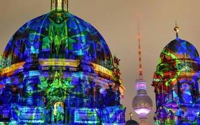 Картинка башня, Германия, собор, Берлин, Фестиваль огней