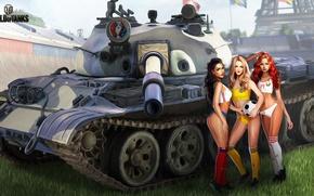 Обои поле, трава, девушки, футбол, спорт, рисунок, мяч, арт, танк, Эйфелева башня, Russia, чемпионат, Ukraine, World ...