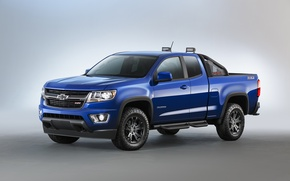 Картинка синий, Chevrolet, джип, шевроле, колорадо, пикап, Colorado, Z71, Extended Cab, 2015, Trail Boss