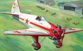 Картинка поле, люди, рисунок, арт, самолёт, аэродром, самолёты, советский, учебно-тренировочный, ангары, УТ-1, взлётное