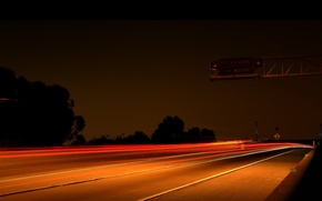 Картинка ночь, огни, Дорога, шоссе