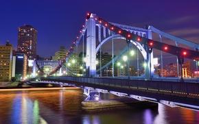 Картинка небо, ночь, мост, огни, река, здания, дома, небоскребы, Япония, освещение, Токио, Tokyo, Japan, синее, мегаполис, ...