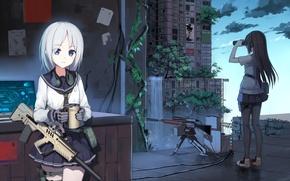 Картинка город, оружие, девушки, дома, аниме, арт, кружка, бинокль, форма, школьницы, yuri shoutu