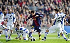 Картинка Мяч, Спорт, Футбол, Испания, Лионель Месси, Lionel Messi, Camp Nou, FC Barcelona, ФК Барселона, Leo, …