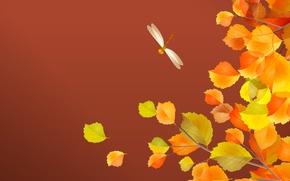 Обои листья, стрекоза, осень