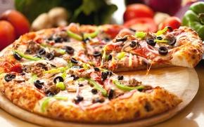 Картинка сыр, перец, пицца, оливки