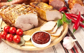 Картинка мясо, овощи, помидоры, соус, острый перец, tomatoes, ветчина, meat, pepper, ham