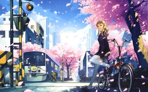 Картинка девушка, велосипед, город, аниме, лепестки, сакура, железная дорога, пять сантиметров в секунду