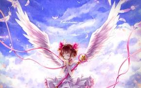 Обои перья, лента, крылья, арт, momoko, аниме, kinomoto sakura, card captor sakura, девушка, небо, облака