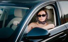 Картинка машина, девушка, ретро стиль, Glamour driver