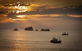Картинка море, корабли, пейзаж, закат
